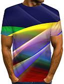 """זול טישרטים לגופיות לגברים-קולור בלוק / 3D / גראפי צווארון עגול סגנון רחוב / מוּגזָם מועדונים האיחוד האירופי / ארה""""ב גודל טישרט - בגדי ריקוד גברים דפוס קשת / שרוולים קצרים"""