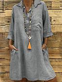 זול שמלות מיני-מעל הברך אחיד - שמלה שיפון וינטאג' בוהו בגדי ריקוד נשים