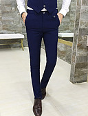 hesapli Pantolonlar-Erkek Temel Takım Elbise / Chinos Pantolon - Solid Koyu Mavi Mor Açık Gri XL XXL XXXL