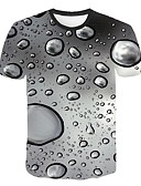 halpa Miesten t-paidat ja hihattomat paidat-Miesten Pyöreä kaula-aukko Patchwork 3D Pluskoko - T-paita Harmaa / Lyhythihainen