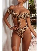 זול בגדי ים במידות גדולות-זהב S M L פפיון שרוכים לכל האורך נמר, בגדי ים טנקיני חוטיני מותן גבוה זהב בסיסי בוהו בגדי ריקוד נשים