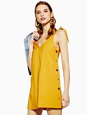 abordables Robes Imprimées-Femme Basique Au dessus du genou Trapèze Robe Couleur Pleine Jaune S M L Sans Manches