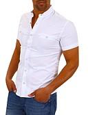 hesapli Gömlekler-Erkek Gömlek Solid Temel / Zarif Beyaz