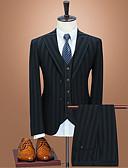 זול טוקסידו-טוקסידו גזרה רגילה סגור Single Breasted Two-button פוליאסטר / תערובת כותנה / פוליסטר קווים / גלים