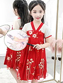 זול שמלות לילדות פרחים-גזרת A באורך  הברך שמלה לנערת הפרחים  - פוליאסטר שרוולים קצרים צווארון V עם ריקמה / סרט על ידי LAN TING Express