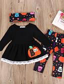 זול שמלות לבנות-סט של בגדים ארוך ארוך שרוול ארוך אחיד / גיאומטרי בסיסי בנות ילדים