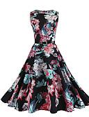 hesapli Kadın Elbiseleri-Kadın's Temel Çin Stili A Şekilli Çan Elbise - Zıt Renkli, Desen Diz-boyu
