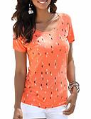 billige Bluser-Bomull T-skjorte Dame - Ensfarget / Geometrisk, Trykt mønster Grunnleggende Svart