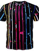 זול חולצות לגברים-פסים / 3D צווארון עגול בסיסי טישרט - בגדי ריקוד גברים דפוס שחור / שרוולים קצרים