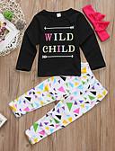 זול סטים של ביגוד לבנות-סט של בגדים כותנה שרוול ארוך גיאומטרי / דפוס פעיל / בסיסי בנות ילדים / פעוטות