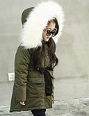 cheap Girls' Tops-Kids Girls' Basic Solid Colored Fur Trim Regular Polyester Jacket & Coat Army Green