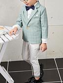 זול חליפות לנושאי הטבעת-תלתן / נייבי כהה תערובת פולי וכותנה חליפה לנושא הטבעת  - 1set כולל מעיל / Pants / עניבת פרפר