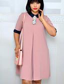 hesapli Print Dresses-Kadın's Kombinezon Elbise - Zıt Renkli Diz-boyu