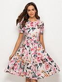 hesapli Print Dresses-Kadın's A Şekilli Elbise - Çiçekli Diz-boyu
