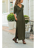 hesapli Mini Elbiseler-Kadın's Kombinezon Elbise - Solid Maksi