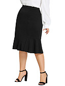 cheap Women's Skirts-Women's Street chic Plus Size Bodycon / Trumpet / Mermaid Skirts - Solid Colored Ruffle Black XL XXL XXXL