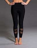 hesapli Kadın Pantolonl-Kadın's Sportif İnce Tozluklar Pantolon - Solid / Çizgili Siyah, Kırk Yama Yüksek Bel Siyah Gri M L XL