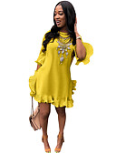 hesapli Mini Elbiseler-Kadın's A Şekilli Elbise - Solid Diz üstü