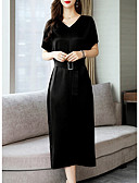 hesapli Print Dresses-Kadın's Temel A Şekilli Elbise - Solid Midi