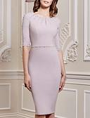 hesapli Gelin Annesi Elbiseleri-Sütun Taşlı Yaka Diz Boyu Splandeks Kristal Detaylar ile Gelin Annesi Elbisesi tarafından LAN TING Express