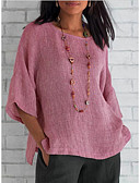 hesapli Gömlek-Kadın's Tişört Solid Doğal Pembe