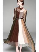 hesapli Kadın Elbiseleri-Kadın's Temel Çin Stili A Şekilli Çan Elbise - Solid Zıt Renkli, Kırk Yama Desen Diz-boyu