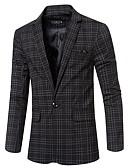 hesapli Erkek Blazerları ve Takım Elbiseleri-Erkek Blazer Çentik Yaka Polyester Beyaz / Siyah / Gri US40 / UK40 / EU48 / US42 / UK42 / EU50 / US44 / UK44 / EU52