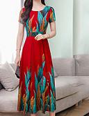 hesapli Print Dresses-Kadın's Temel Salaş A Şekilli Elbise - Geometrik Maksi