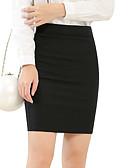 hesapli Kadın Etekleri-Kadın's Temel Mini Bandaj Etekler - Solid Siyah XL XXXL XXL / İnce