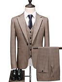 hesapli Takım Elbiseler-Haki Damalı Standart Kalıp Polyester Takım elbise - Çentik Tek Sıra Düğmeli Bir Düğme