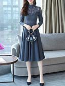hesapli Romantik Dantel-Kadın's Zarif A Şekilli Elbise - Solid, Dantel Şalter Kırk Yama Diz-boyu