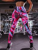 hesapli Taytlar-Kadın's Spor Podstawowy Legging - Geometrik, Desen Orta Bel Fuşya S M L / İnce
