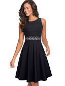 hesapli Mini Elbiseler-Kadın's Temel A Şekilli Elbise - Solid Geometrik, Dantel Desen Diz-boyu