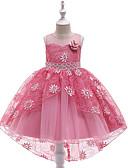 זול שמלות לילדות פרחים-נסיכה א-סימטרי שמלה לנערת הפרחים  - כותנה / תחרה / סאטן ללא שרוולים עם תכשיטים עם אפליקציות / ריקמה / תחרה על ידי LAN TING Express