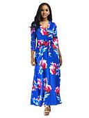 baratos Vestidos Longos-Mulheres Elegante balanço Vestido - Estampado, Sólido Longo