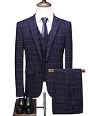 זול חליפות-נייבי כהה מְשׁוּבָּץ גזרה רגילה פוליאסטר חליפה - פתוח Single Breasted One-button