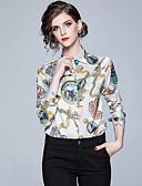 abordables Chemises Femme-Chemise Femme, Graphique Imprimé Elégant Col de Chemise Blanche