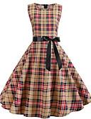 hesapli Vintage Kraliçesi-Kadın's Vintage A Şekilli Elbise Kırk Yama Desen Diz-boyu