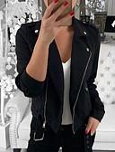 hesapli Gömlek-Kadın's Günlük Normal Ceketler, Solid Gömlek Yaka Uzun Kollu Polyester Siyah / Beyaz / İnce