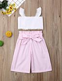 זול אוברולים טריים לתינוקות-סט של בגדים כותנה ללא שרוולים פפיון / דפוס פסים פעיל / בסיסי בנות ילדים / פעוטות