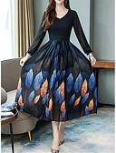 hesapli Maksi Elbiseler-Kadın's Çan Elbise - Geometrik Midi