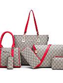 hesapli NYE Elbiseleri-Kadın's Fermuar PU Çanta Setleri Geometrik Desenli 6 Adet Çanta Seti Beyaz / Siyah / YAKUT / Sonbahar Kış