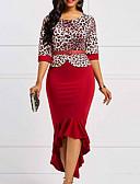 hesapli Print Dresses-Kadın's İki Parça Elbise - Leopar Midi