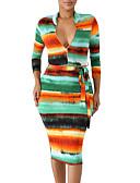 hesapli Kadın Elbiseleri-Kadın's Bandaj Elbise - Geometrik Midi