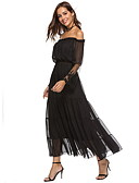 hesapli Mini Elbiseler-Kadın's A Şekilli Elbise - Solid Maksi