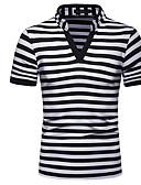 זול חליפות-פסים צווארון V בסיסי Polo - בגדי ריקוד גברים טלאים שחור / שרוולים קצרים