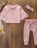 זול אוברולים טריים לתינוקות-סט של בגדים כותנה שרוול ארוך פפיון אחיד ורד מאובק פעיל / בסיסי בנות תִינוֹק / פעוטות