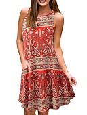 hesapli Mini Elbiseler-Kadın's A Şekilli Elbise - Geometrik, Desen Diz-boyu