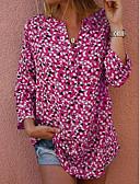 halpa Kvartsikellot-Naisten V kaula-aukko Patchwork / Painettu Polka Dot Perus Pluskoko - Pusero Punastuvan vaaleanpunainen