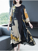 hesapli Print Dresses-Kadın's Çan Elbise - Çiçekli Midi